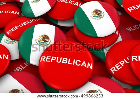 Republican Party Campaign Pins and Mexican Flag Buttons 3D Illustration