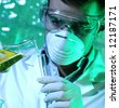 researcher in the laboratory - stock photo