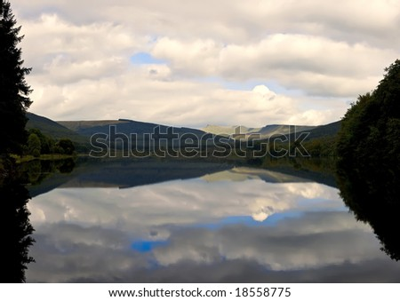 reservoir in the brecon beacons national park powys wales uk