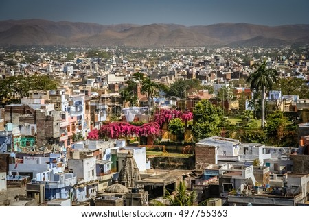 Residential area of the Udaipur city called the most romantic city in India or the Venice of India