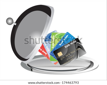 Restaurant cloche with open lid and Credit Cards