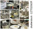 Restaurant kitchen collage - stock photo