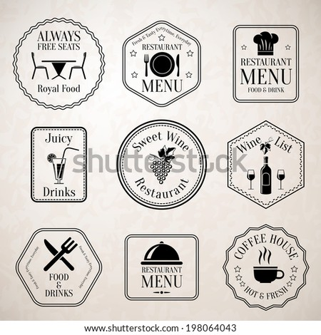Restaurant menu food and drinks wine list black labels set with serving elements isolated  illustration