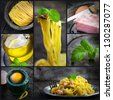 Restaurant series. Collage of fresh Pasta carbonara.  Fresh ingredients - homemade egg pasta, ham, basil in vintage setting - stock photo