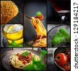Restaurant series. Collage of pasta with tomato sauce and olives. Italian cooking with Spaghetti, ingredients, basil, wine and olive oil - stock