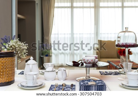 restaurant set with Luxury Interior living room background