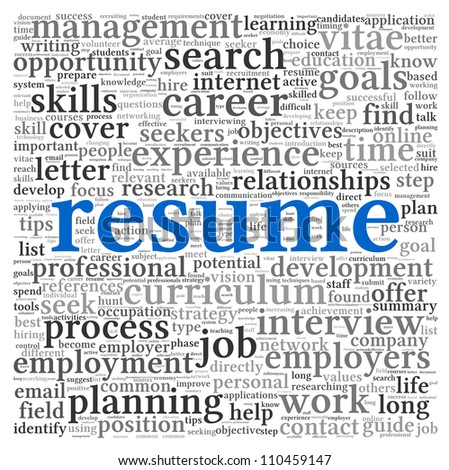 resume concept word tag cloud on stock vector 110459912 shutterstock