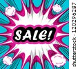 Retro background Design Template boom with word SALE Comic book background - stock vector