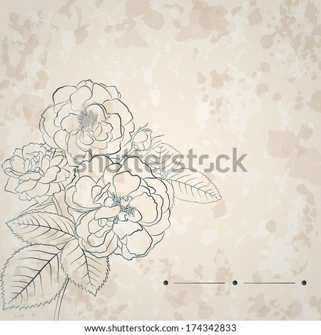 Retro background with spots and bouquet of roses in light brown colors. Raster version.