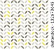 retro beige yellow brown leaves shaped elements in rows on white background abstract geometric seamless pattern raster version - stock vector