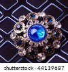 retro brooch with blue stones - stock photo