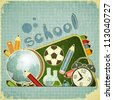 Retro card -  back to school Design - School Board and School Supplies on blue vintage  background - JPEG version - stock photo