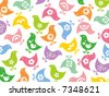 retro colorful fun icon chicks pattern (raster) - stock vector