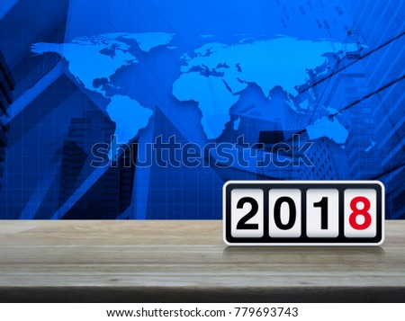 Magnifying glass 2018 text graph on stock photo 762692683 shutterstock retro flip clock with 2018 text on wooden table over world map and city tower gumiabroncs Choice Image