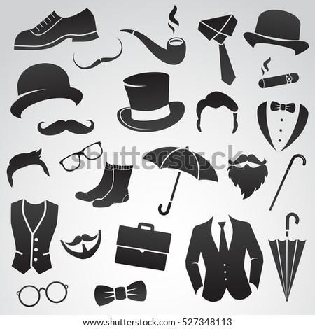 Retro Gentleman Fashion Set Icons Collection Stock Vector 527348122 Shutterstock