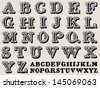 Retro illustration of a complete retro styled alphabet in caps, vintage - stock