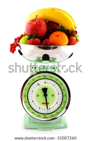 Retro kitchen scale with a diversity of fruit