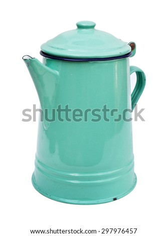 Retro metal tin pot on white background
