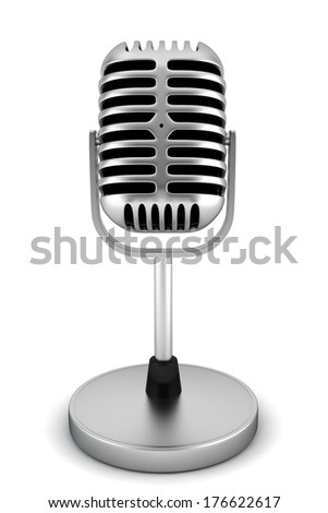 Retro microphone. 3d illustration on white background