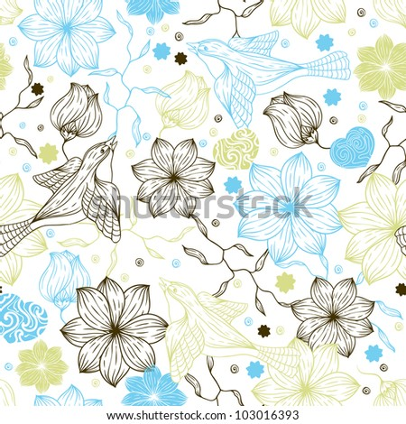 Retro seamless pattern with flowers and birds.