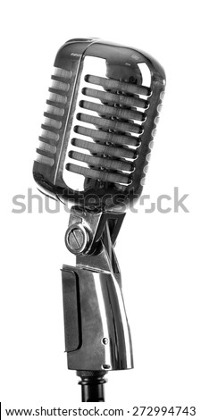 Retro silver microphone isolated on white