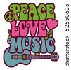 Retro-style design of Peace, Love and Music with peace symbol, heart, musical notes and guitar. - stock photo
