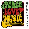 Retro-style design of Peace, Love and Music with peace symbol, heart, musical notes and guitar in Rasta colors. - stock photo