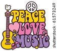 Retro-style design of Peace, Love and Music with peace symbol, heart, musical notes and guitar in pastel colors. - stock vector