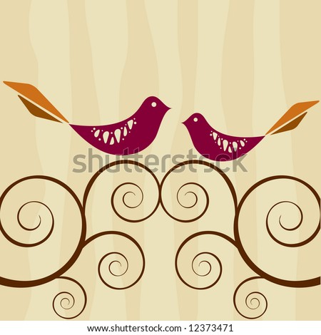 Retro style lovebirds atop swirly vines