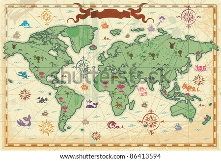 Retro-styled map of the World with trees, volcano, mountains and fantasy monsters. Raster version. Vector version is also available.