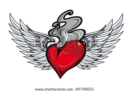 heart sword wings retro style tattoo stock vector 90986897 shutterstock. Black Bedroom Furniture Sets. Home Design Ideas