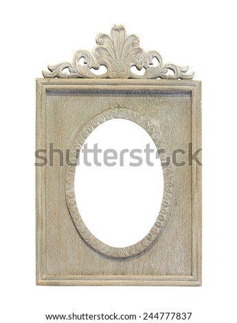 Retro wooden frame isolated with clipping path included