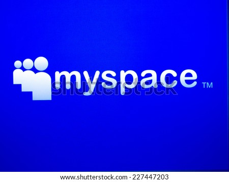 Rhodes, Greece - October 31, 2014:Close up of MySpace web page , MySpace is widely used social networking website.