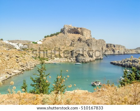 Rhodes, Greece - September 1, 2011: Lindos area and the castle up above on the Greek Island of Rhodes