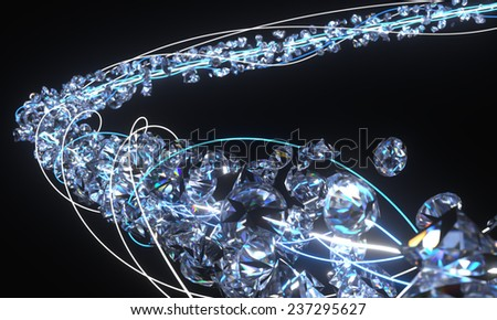 Background Diamonds Dispersion Shine Stock Illustration #2: stock photo ribbon of diamonds mixed with some neon lights in dark space