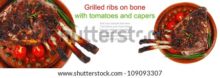 ribs on wooden plate over white background