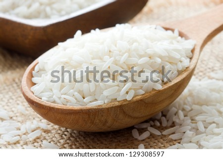 Rice in wooden spoon
