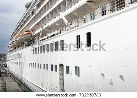 Right Side Cruise Ship Moored Berth Stock Photo - Port or starboard side of cruise ship