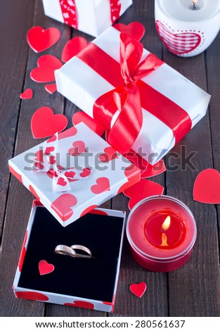 ring in box for present on a table