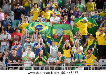 Rio, Brazil - august 07, 2016:  Pedro Solberg/Evandro vs Diaz/Gonzalez during beach volleyball game between Brazil and (CUB) in the Rio 2016 Olympics at the Copacabana Arena