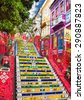 RIO DE JANEIRO, BRAZIL - APRIL 23, 2015: Escadaria Selaron famous public steps in Rio de Janeiro on April 23, 2015. The landmark  steps was created by Chilean born artist Jorge Selaron in 1990-2013. - stock photo