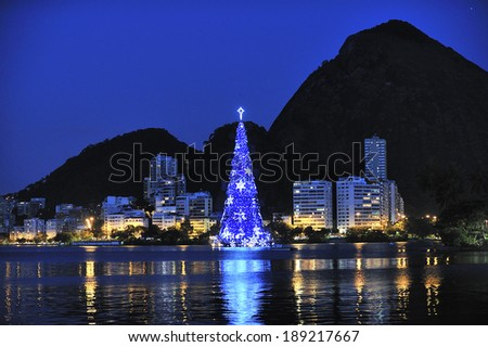 Rio de Janeiro, Brazil-December 6, 2012: Christmas Tree on the water of Lagoon, the annual event for the city of Rio de Janeiro, Brazil