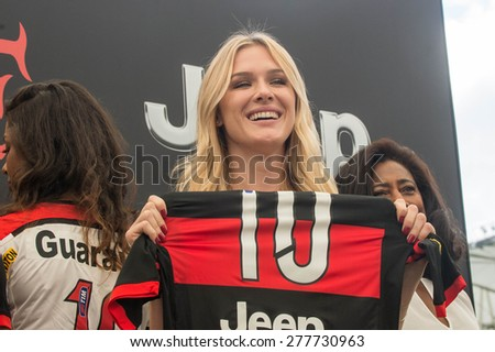 RIO DE JANEIRO, RJ - BRAZIL, MAY, 13, 2015 - Fiorella Mattheis,  the famous Brazilian Actress, during Jeep and Flamengo Club announced financial partnership at an event at Maracanâ?¹ Stadium