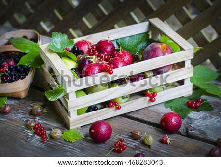 Ripe fruit and berries in a wooden box and a basket