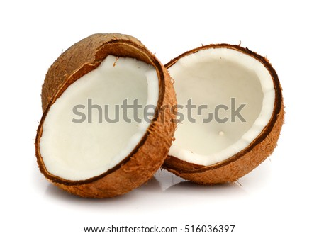 Ripe fruit coconut split into two halves on a white background
