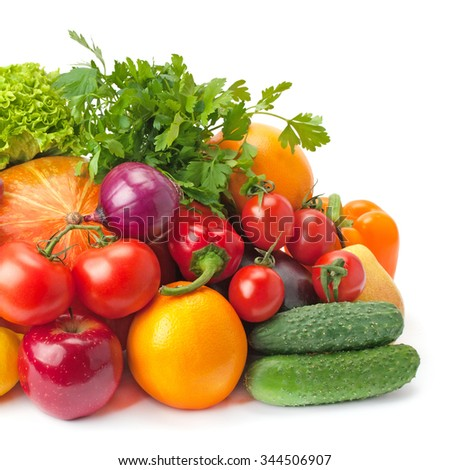 ripe, juicy, healthy fruits and vegetables isolated on a white background