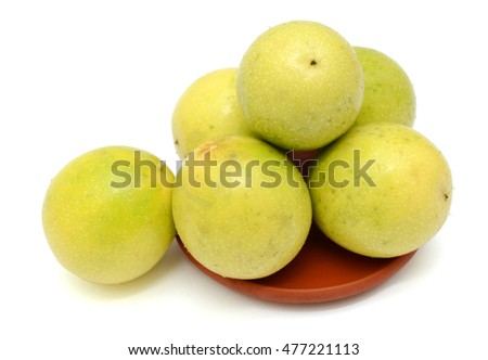 Ripe Passion fruits isolated on white background