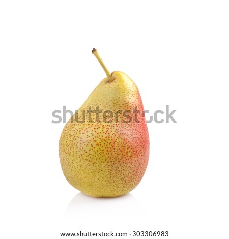 Ripe red pear fruit isolated on white background