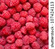 Ripe red raspberries close up - stock photo