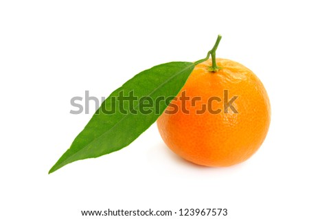 Ripe single tangerine (mandarin) with green leaf isolated on white
